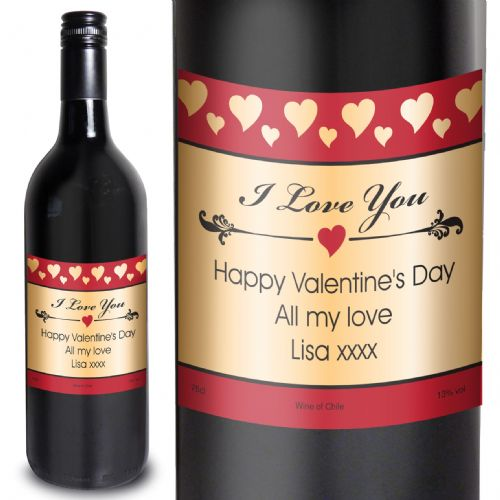 Personalised Hearts I Love You Red Wine